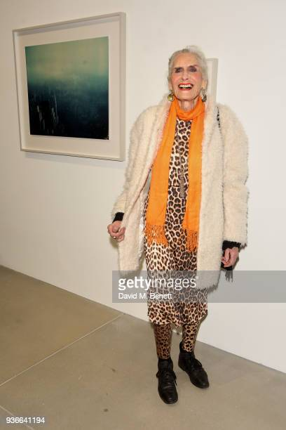 Daphne Selfe attends the private view of Wim Wenders ÔEarly Works: 1964-1984Õ at Blain|Southern on March 22, 2018 in London, United Kingdom.
