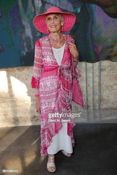 Daphne Selfe attends the Unit London Mayfair Launch and Preview of Ryan Hewett The Garden at Unit London on June 26, 2018 in London, England.