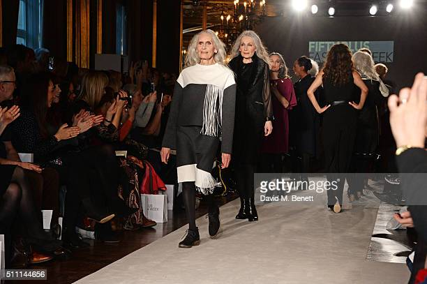 Daphne Selfe walks the runway at the first Fifty Plus Fashion Week hosted by JD Williams at Cafe Royal on February 18 2016 in London England