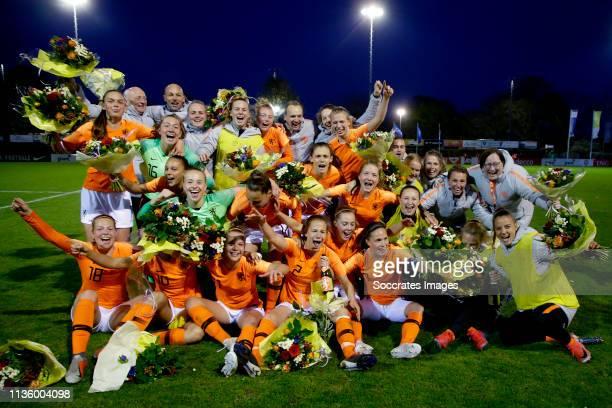 Daphne van Domselaar of Holland U19 Women, Lynn Wilms of Holland U19 Women, Lieske Carleer of Holland U19 Women, Lisa Doorn of Holland U19 Women,...