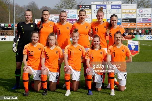 Daphne van Domselaar of Holland Women U19 Jonna van de Velde of Holland Women U19 Romee Leuchter of Holland Women U19 Romy Speelman of Holland Women...