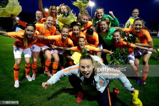 Daphne van Domselaar of Holland Women U19, Lynn Wilms of Holland Women U19, Lieske Carleer of Holland Women U19, Lisa Doorn of Holland Women U19,...
