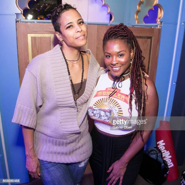 Daphne Wayans and Torrei Hart attend Russell Simmons' 60th Birthday Party at his Tantris Yoga Center on October 6 2017 in West Hollywood California
