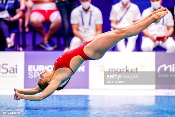 Daphne Wils of the Netherlands competing at the Team Event Preliminary during the LEN European Aquatics Championships 1m Springboard Preliminary at...