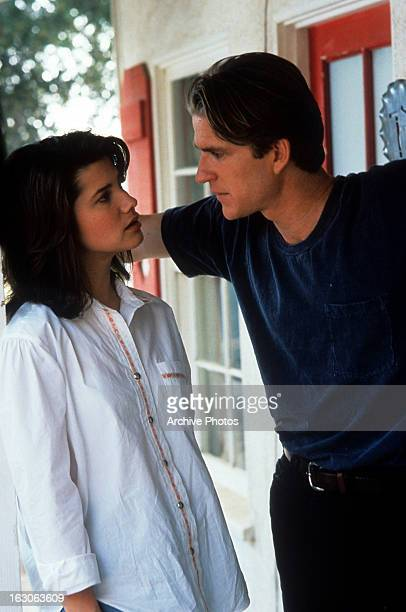 Daphne Zuniga gets hit on by Matthew Modine in a scene from the film 'Gross Anatomy' 1989