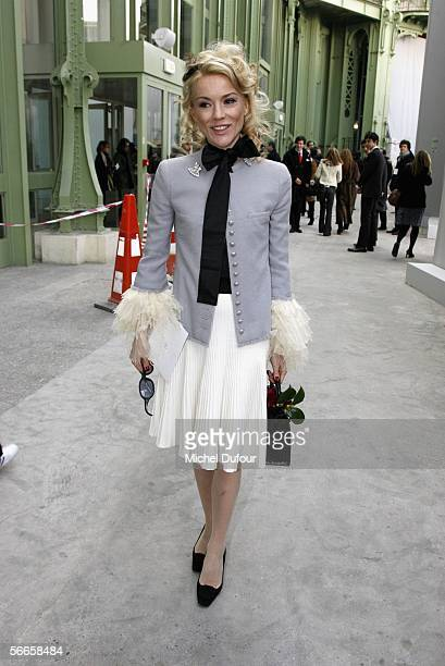Daphnee Guiness is seen walking to the Chanel fashion show as part of Paris Fashion Week Spring/Summer 2006 on January 24 2006 in Paris France