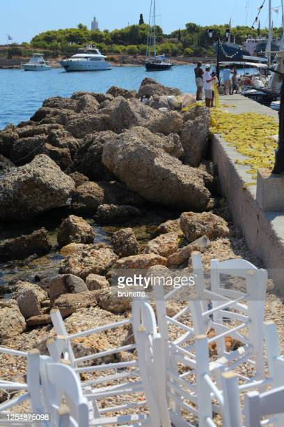 dapia old harbor, spetses island, greece - spetses stock pictures, royalty-free photos & images