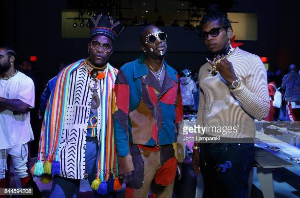 Dapper Afrika Young Paris and Trinidad James attends Jeremy Scott collection during the September 2017 New York Fashion Week The Shows on September 8...