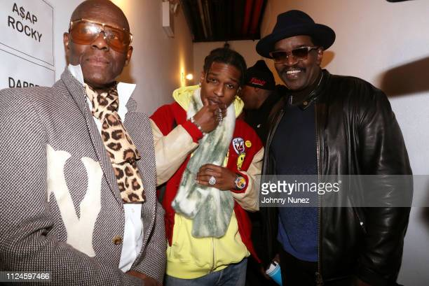 Dapper Dan A$AP Rocky and Fab 5 Freddy backstage at Stoop Talks with A$AP Rocky Dapper Dan at Terminal 5 on February 12 2019 in New York City