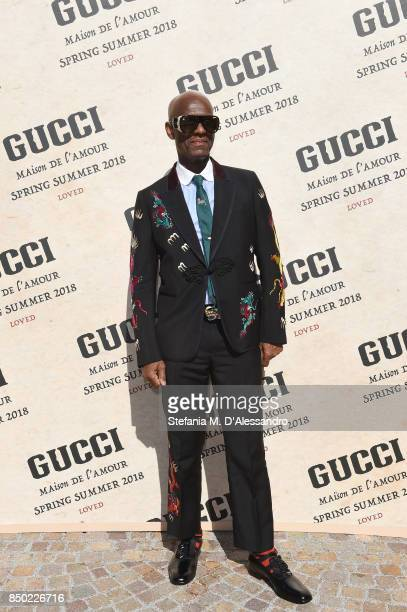 Dapper Dan arrives at the Gucci show during Milan Fashion Week Spring/Summer 2018 on September 20 2017 in Milan Italy