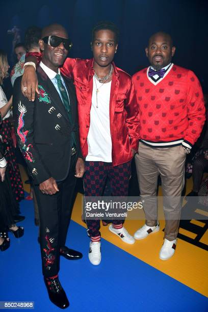 Dapper Dan, Asap Rocky and Steve Stoute attend the Gucci show during Milan Fashion Week Spring/Summer 2018 on September 20, 2017 in Milan, Italy.