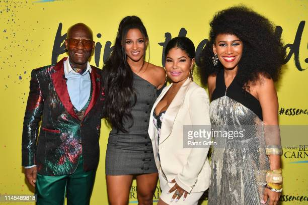 Dapper Dan Ciara Misa Hylton and MoAna Luu pose backstage during the 2019 ESSENCE Beauty Carnival Day 1 on April 27 2019 in New York City