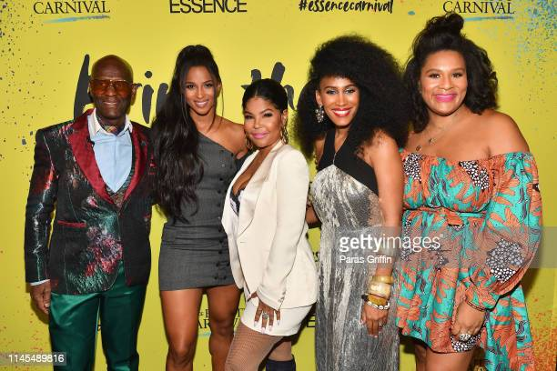 Dapper Dan, Ciara, Misa Hylton, MoAna Luu and Julee Wilson pose backstage during the 2019 ESSENCE Beauty Carnival Day 1 on April 27, 2019 in New York...