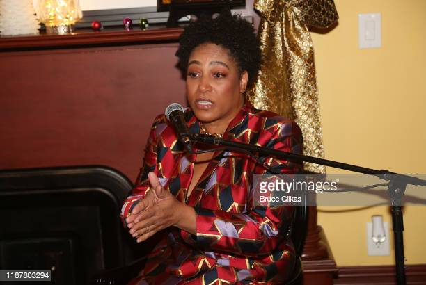 Dapper Dan Enterprises COO Danique DayLoving during the podcast at the celebration for the North of 40 Podcast Launch at Dapper Dan Atelier on...
