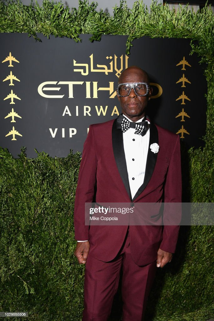Dapper Dan poses in the Etihad VIP lounge during New York Fashion Week: The Shows on September 8, 2018 in New York City.