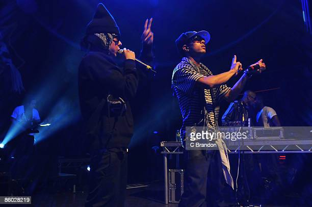 Dappy and Fazer of NDubz perform on stage at Shepherds Bush Empire on April 18 2009 in London England