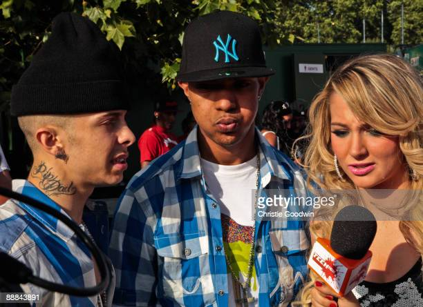 Dappy Fazer and Tulisa of NDubz backstage on the second day of Wireless Festival at Hyde Park on July 5 2009 in London England