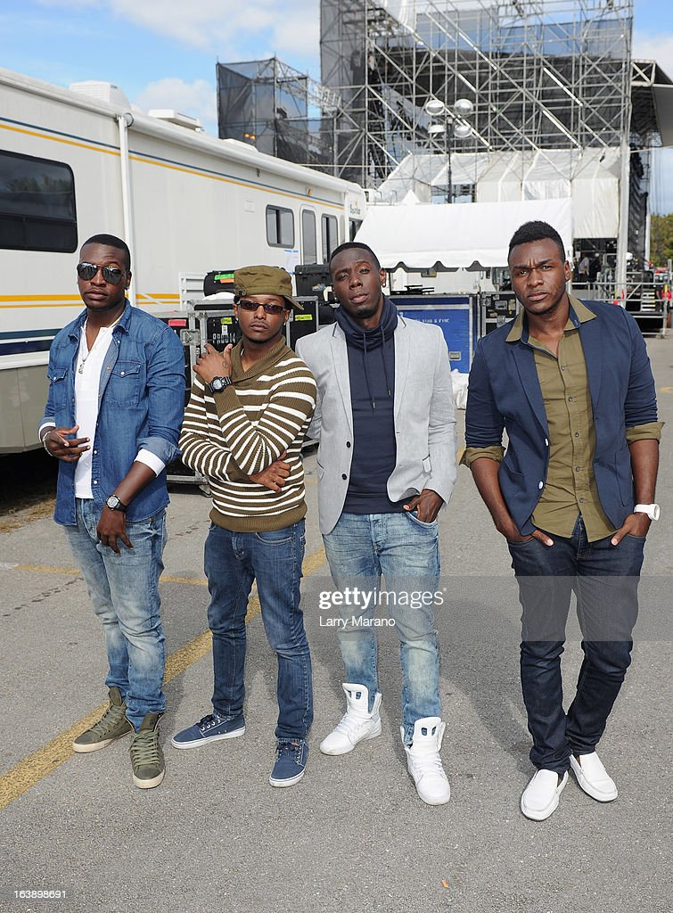 DaPrince Taylor, Adon Jackson, A.J. Frazier and Antwan Lenard of Unselfish pose backstage at the 8th Annual Jazz in the Gardens Day 2 at Sun Life Stadium presented by the City of Miami Gardens on March 17, 2013 in Miami Gardens, Florida.