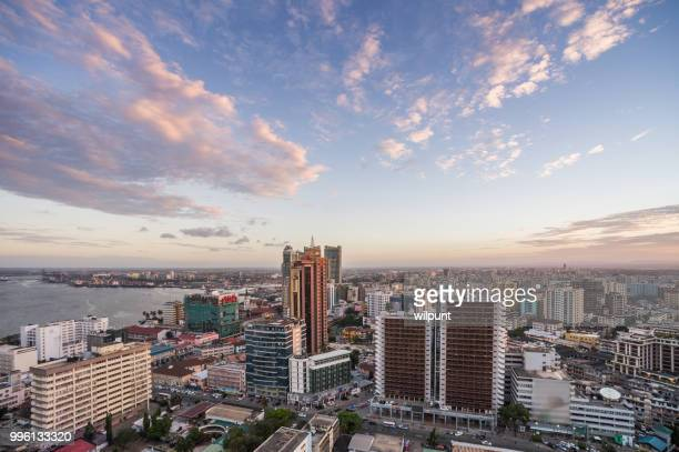 Dar es Salaam Business District Cityscape High Angle View with coastline