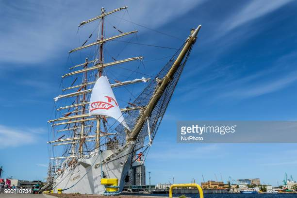 STS Dar Mlodziezy sail training ship is seen in Gdynia Poland on 19 May 2018 Dar Mlodziezy first Polishbuilt oceangoing sailing vessel which...