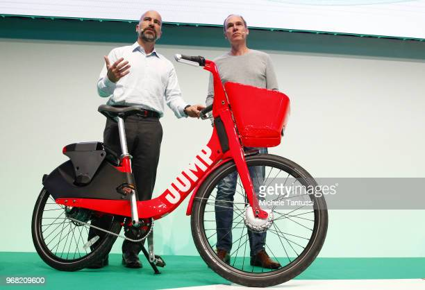 Dara Khosrowshahi CEO of Uber and Christoph Keese CEO Axel Springer ecosystem present the new City Bike Sharing service of UBER called Jump at the...