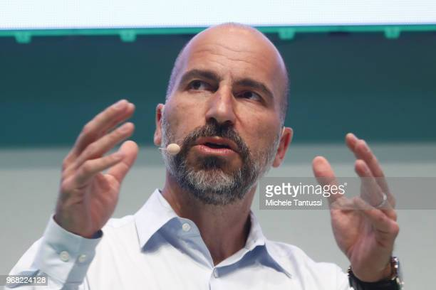 Dara Khosrowshahi CEO of Uber speaks at the 2018 NOAH conference on June 6 2018 in Berlin Germany The annual conference brings together established...