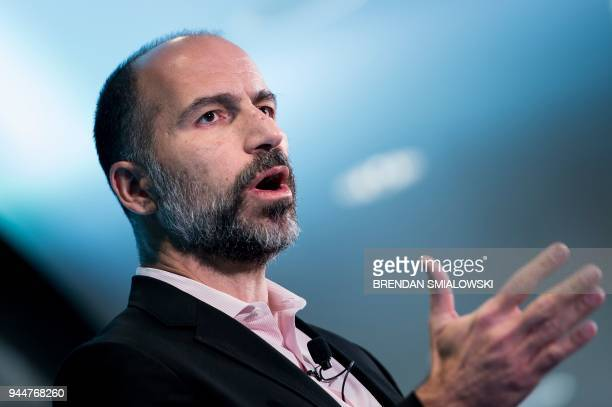 Dara Khosrowshahi, CEO of Uber, speaks during an event at the Uber DC Green-light Hub April 11, 2018 in Washington, DC.