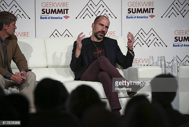 Dara Khosrowshahi chief executive officer of Expedia Inc speaks during the GeekWire Summit in Seattle Washington US on Tuesday Oct 4 2016 The summit...