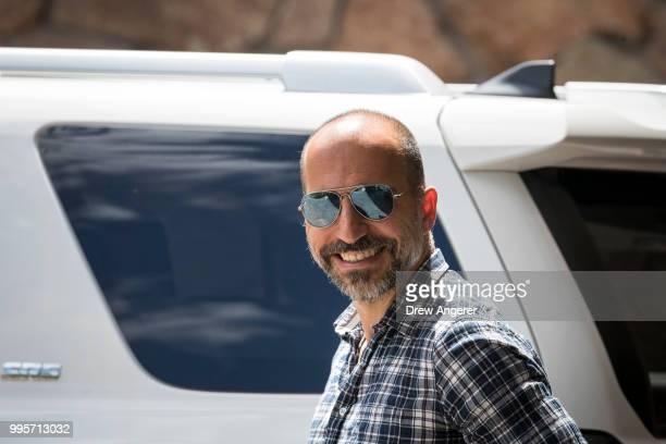 Dara Khosrowshahi chief executive officer of Uber arrives at the Sun Valley Resort for the annual Allen Company Sun Valley Conference July 10 2018 in...