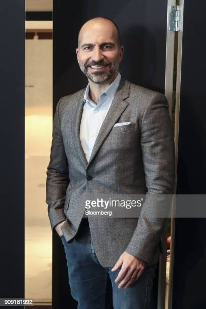 Dara Khosrowshahi chief executive officer of Uber Technologies Inc poses for a photograph following an interview on the opening day of the World...