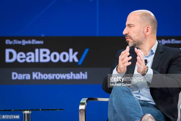 Dara Khosrowshahi speaks onstage at The New York Times 2017 DealBook Conference at Jazz at Lincoln Center on November 9 2017 in New York City