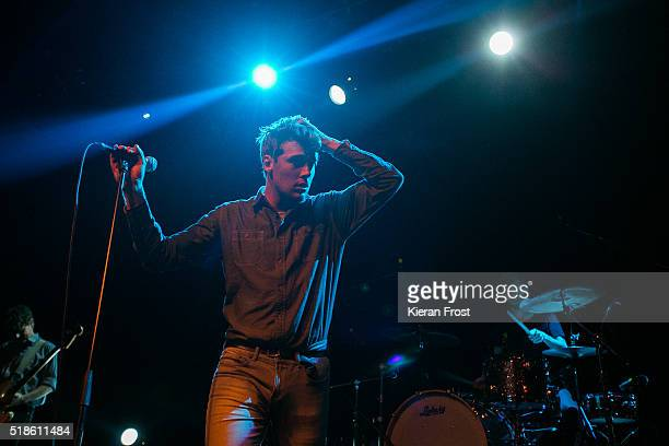 Dara Kiely and Adam Faulkner of Girl Band performs at Vicar Street on April 1 2016 in Dublin Ireland