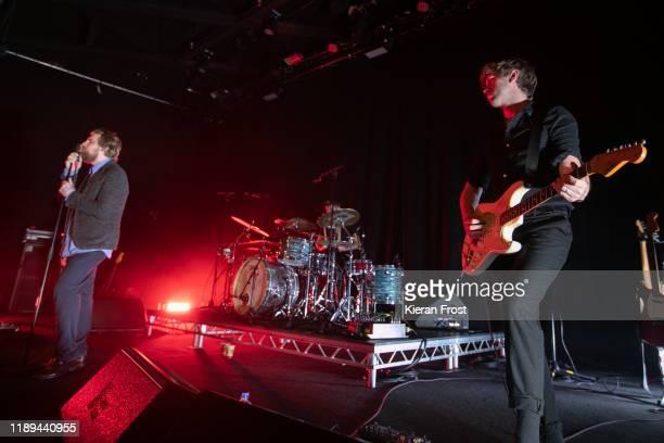 Dara Kiely and Alan Duggan of Girl Band perform live at Vicar Street on November 22, 2019 in Dublin, Ireland.