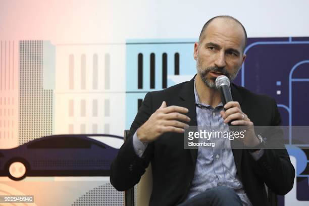 Dara Kowsrowshahi chief executive officer of Uber Technologies Inc speaks during an event in New Delhi India on Thursday Feb 22 2018 During his Japan...