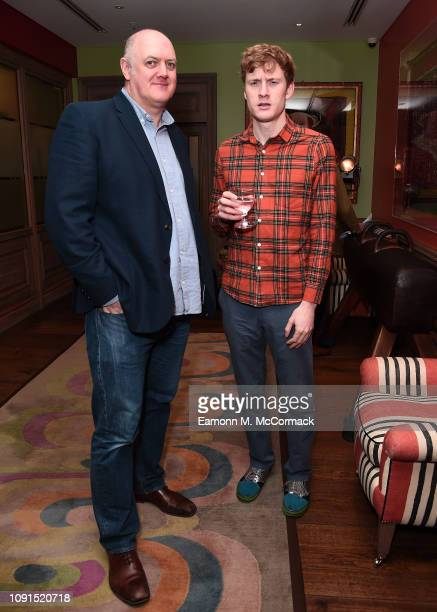 Dara O'Briain and James Acaster attend special preview screening of Stan Ollie at Soho Hotel on January 08 2019 in London England