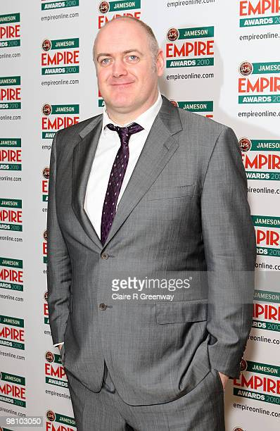 Dara O'Briain poses at the Winners Boards at the Jameson Empire Film Awards held at the Grosvenor House Hotel on March 28 2010 in London England