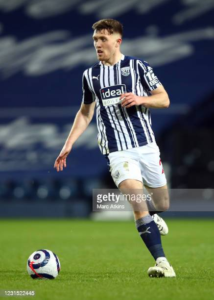 Dara O'Shea of West Bromwich Albion during the Premier League match between West Bromwich Albion and Everton at The Hawthorns on March 4, 2021 in...