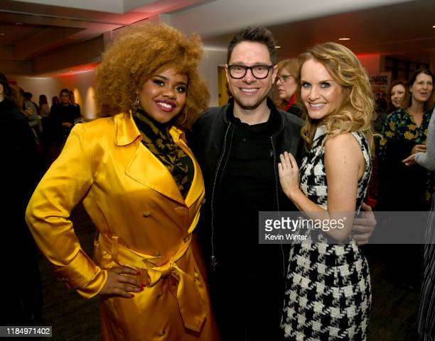 """Dara Renee, Tim Federle and Kate Reinders pose at the after party for the premiere of Disney+'s """"High School Musical: The Musical: The Series"""" at the..."""