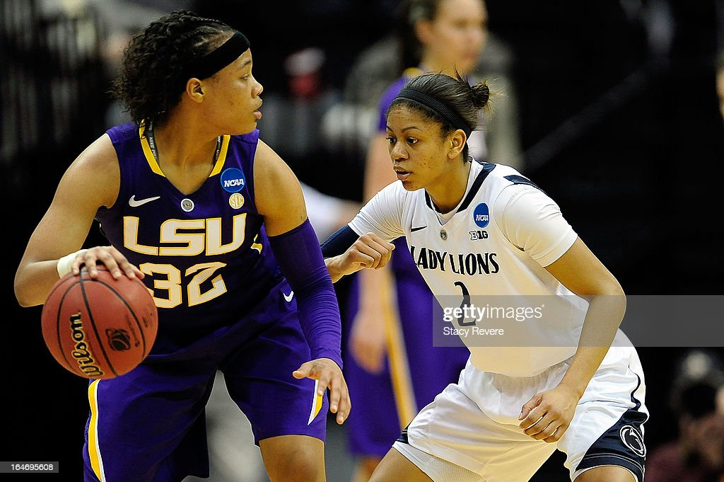 Dara Taylor #2 of the Penn State Lady Lions guards Danielle Ballard #32 of the LSU Tigers during the second round of the NCAA Tournament at the Pete Maravich Assembly Center on March 26, 2013 in Baton Rouge, Louisiana. LSU won the game 71-66.