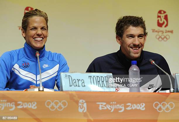 Dara Torres and Michael Phelps both of the US take questions during a press conference at the main press center in preperation for the 2008 Beijing...