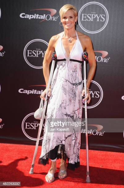 Dara Torres arrives at the 2014 ESPYS at Nokia Theatre LA Live on July 16 2014 in Los Angeles California