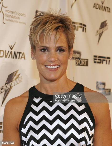 Dara Torres arrives on the Playtex Sport Pink Carpet at The 28th Annual Salute to Women in Sports Awards Dinner on October 15 2007 at New York's...