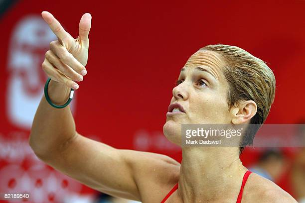 Dara Torres of the United States of America looks on during a practice session ahead of the Beijing 2008 Olympics at National Aquatics Center on...