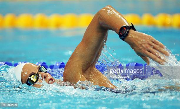 Dara Torres of the United States of America swims in the pool during a practice session ahead of the Beijing 2008 Olympics at National Aquatics...