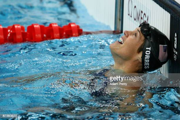 Dara Torres of the United States reacts after winning the silver medal in the Women's 50m Freestyle final held at the National Aquatics Centre during...
