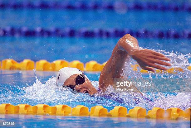 Dara Torres of the USA in action in the Women's 100m Freestyle Heats September 20 2000 at the Sydney International Aquatic Centre on Day Five of the...