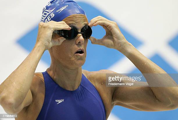 Dara Torres of the USA looks on before the women's 100m freestyle final during the FINA Swimming World Cup on November 18, 2007 in Berlin, Germany.