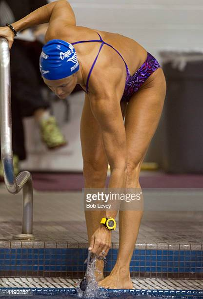 Dara Torres warms up before swimming at the Texas Senior Circuit Long Course Meet at Texas AM University Student Recreation Center Natatorium on May...