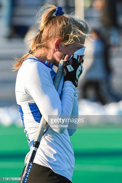 Darby Klopp of Franklin Marshall reacts following the Division III Women's Field Hockey Championship held at Spooky Nook Sports on November 24 2019...