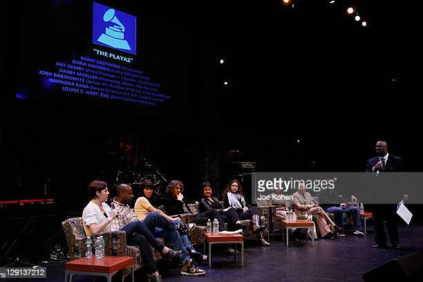 Darby Moeller Ant Demby Jenna Andrews Scoot Jacoby Leah Rich Stephanie Courtney and Harinder Rana attend the super panel The Playaz moderated by...
